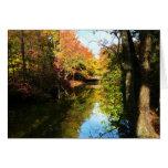 Parque del otoño con el puente tarjetas