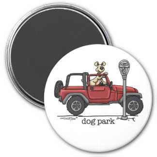 Parque del perro imán redondo 7 cm