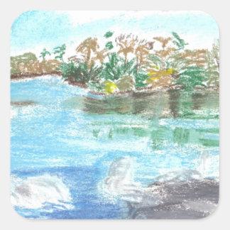 Parque del río pegatinas cuadradases personalizadas