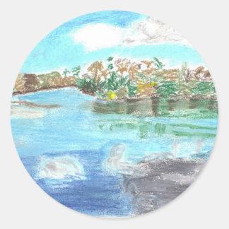 Parque del río etiqueta redonda