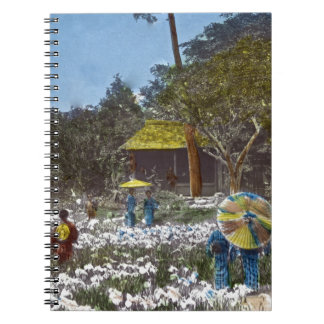 Parque en la mano del vintage de Tokio Japón teñid Cuaderno
