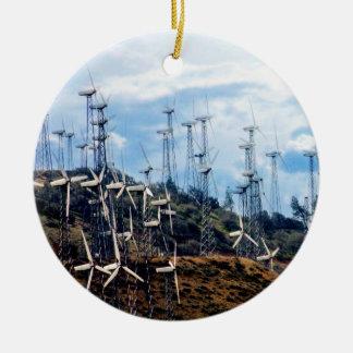 Parque eólico de Tehachapi del Mojave de la Adorno Navideño Redondo De Cerámica