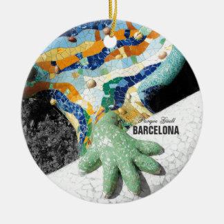 Parque Guell de Barcelona Gaudi Adorno Navideño Redondo De Cerámica