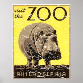 Parque-Hipopótamo de Philadelphia apenado Póster