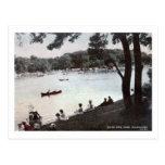 Parque lateral del río, vintage de Milwaukee, Wisc Postal