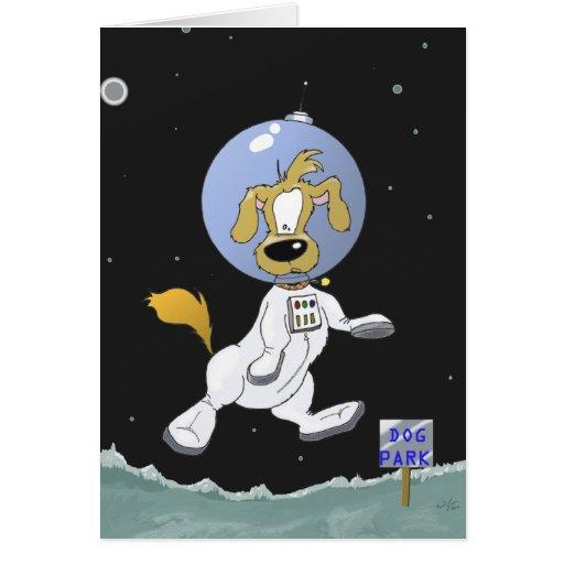 Parque lunar del perro tarjeta de felicitación
