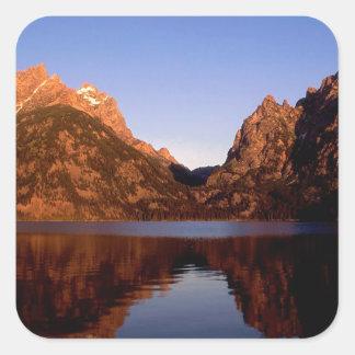 Parque magnífico de Jenny Teton del lago Pegatina Cuadrada