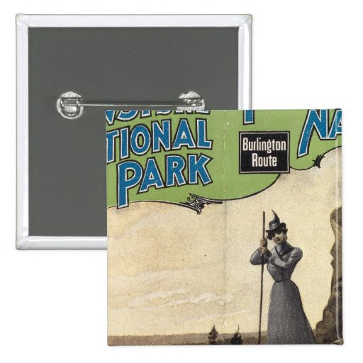 Parque nacional 3 de Yellowstone Pin Cuadrada 5 Cm