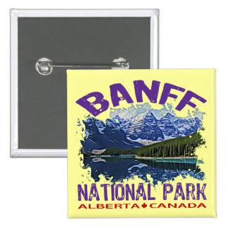 Parque nacional de Banff, Alberta Canadá Pin Cuadrada 5 Cm