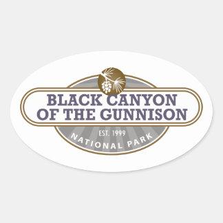 Parque nacional de Gunnison del barranco negro Pegatina Ovalada