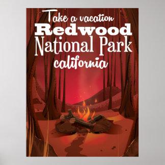 Parque nacional de la secoya, poster del viaje de