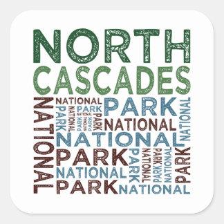 Parque nacional de las cascadas del norte pegatina cuadrada