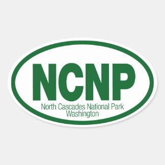 Parque nacional de las cascadas del norte pegatina ovalada