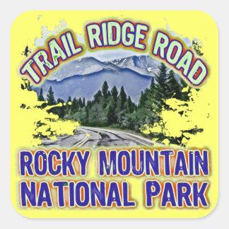 Parque Nacional de las Montañas Rocosas del camino Pegatina Cuadrada