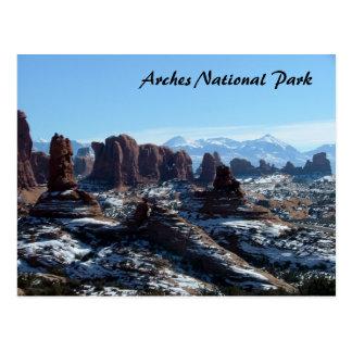 Parque nacional de los arcos en invierno postal