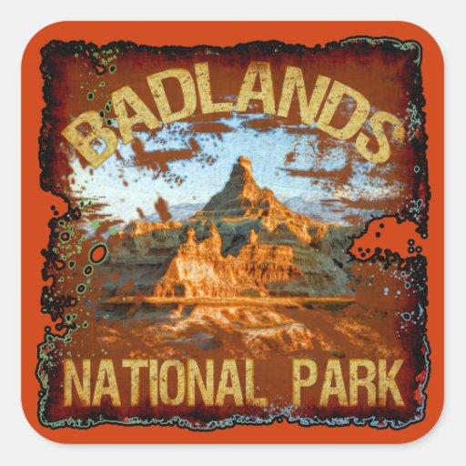 Parque nacional de los Badlands Pegatina Cuadrada