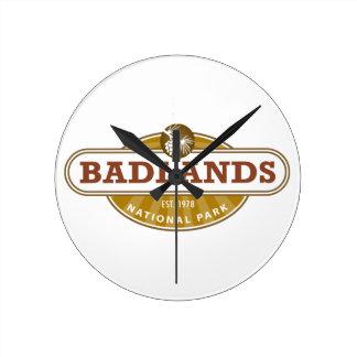 Parque nacional de los Badlands Reloj De Pared