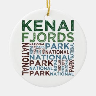 Parque nacional de los fiordos de Kenai Adorno Navideño Redondo De Cerámica