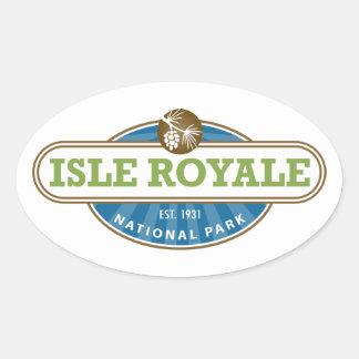 Parque nacional de Royale de la isla - Michigan Pegatina Ovalada