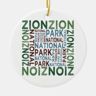 Parque nacional de Zion Adorno Navideño Redondo De Cerámica