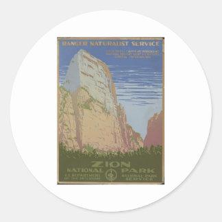 Parque nacional de Zion Springdale 1938 Utah Pegatinas Redondas