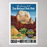 Parque nacional de Zion, Utah - viaje del vintage Posters