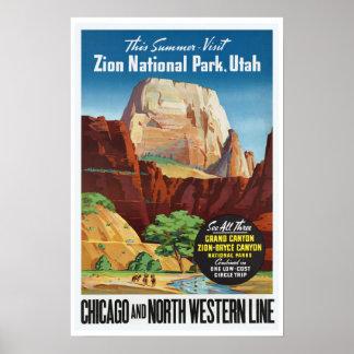 Parque nacional de Zion, Utah - viaje del vintage Póster