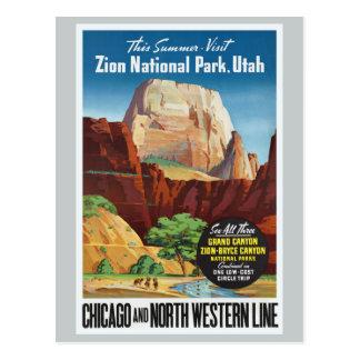 Parque nacional de Zion, viaje de Utah América Tarjeta Postal