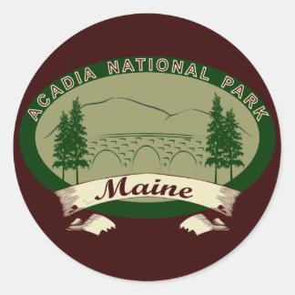 Parque nacional del Acadia de Maine Pegatina Redonda