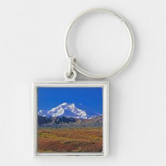 Parque nacional del monte McKinley Denali, Alaska Llavero Cuadrado Plateado