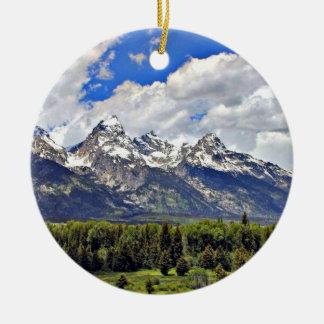 Parque nacional magnífico de Teton Adorno Navideño Redondo De Cerámica