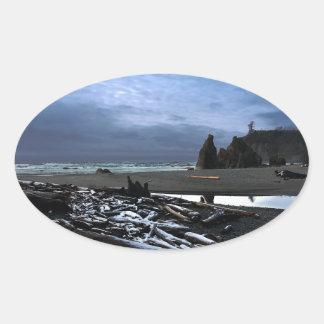 Parque nacional olímpico de la playa de rubíes de pegatina ovalada