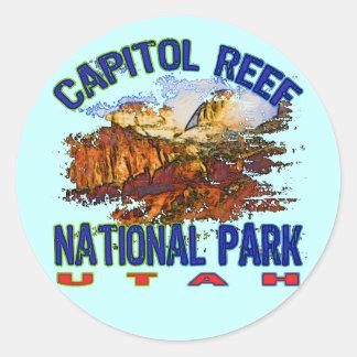 Parque nacional Utah del filón del capitolio Pegatina Redonda