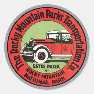 Parque Norteamérica de la montaña rocosa del Pegatina Redonda