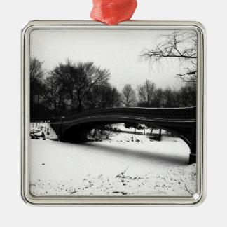 Parque NYC. de Centeral del invierno Adorno Cuadrado Plateado