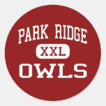 Parque Ridge - búhos - alto - parque Ridge New Pegatina Redonda