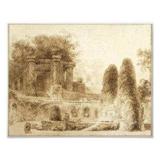 Parque romano con la fuente de Jean-Honore Cojinete