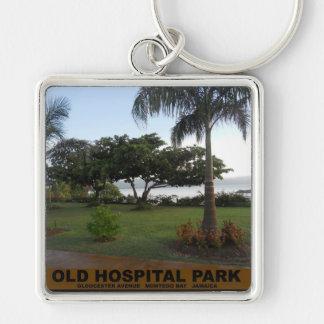 Parque viejo del hospital, Montego Bay Jamaica Llavero Cuadrado Plateado