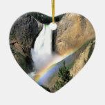 Parque Wyoming de Yellowstone de la cascada Adorno Navideño De Cerámica En Forma De Corazón