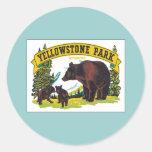 Parque Wyoming los E.E.U.U. de Yellowstone del Pegatina Redonda