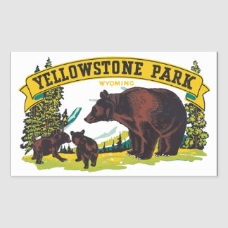 Parque Wyoming, vintage de Yellowstone Rectangular Pegatina