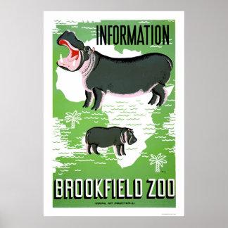 Parque zoológico de Brookfield del hipopótamo WPA  Póster