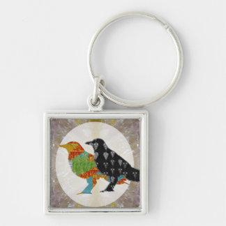Parque zoológico salvaje del pájaro del cuervo del llavero cuadrado plateado