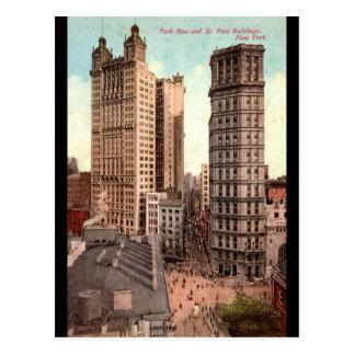 Parquee la fila, vintage de los edificios NYC Tarjetas Postales