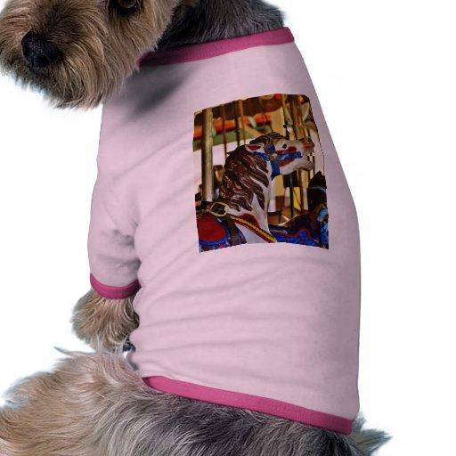 Parques de atracciones de los paseos de los caball camiseta con mangas para perro
