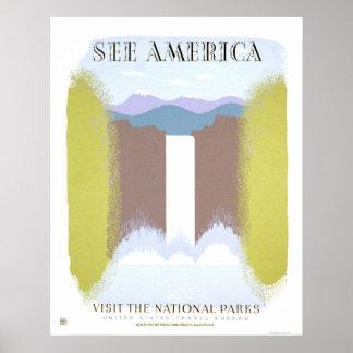 Parques nacionales de la visita WPA 1940 Poster