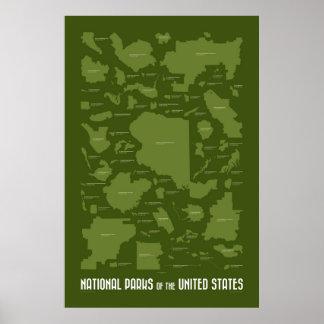 Parques nacionales de los Estados Unidos Poster