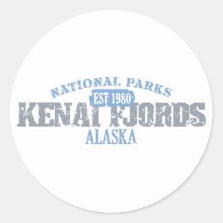 Parques nacionales de los fiordos de Kenai Pegatina Redonda