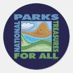 Parques nacionales pegatina redonda