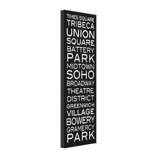 Parques y vecindades de los distritos de NYC el    Impresión En Lona Estirada